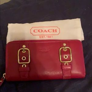 Coach Red Large Zip Leather Wallet